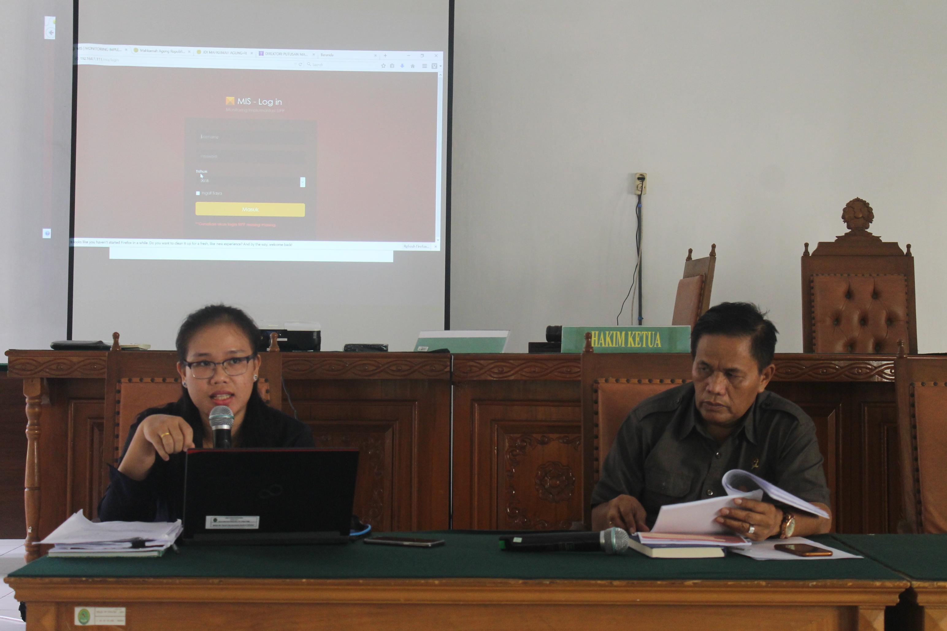 Sosialisasi Aplikasi MIS (Monitoring Implementasi SIPP) di Pengadilan Negeri Tebing Tinggi